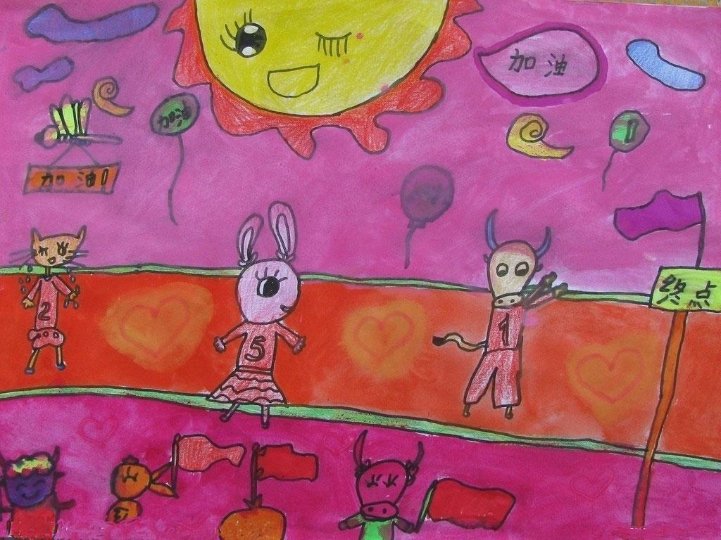 幼儿教育:儿童水彩画《动物运动会》-中大网校儿童