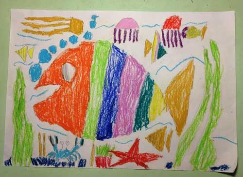 绘画海底世界简笔画_海底世界简笔画,海底世界; 儿童画作品欣赏海洋