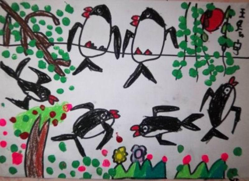 幼儿教育:儿童油棒画《春天小燕子》-中大网校儿童