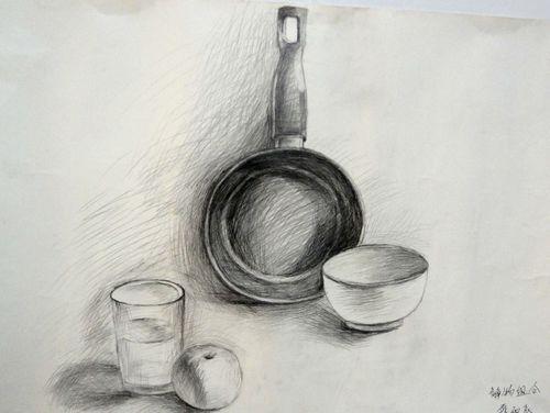 素描《锅与碗》