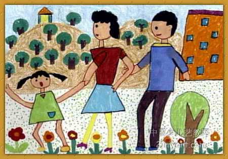 幼儿教育:儿童水彩画《《快乐郊游》》-中大网校儿童