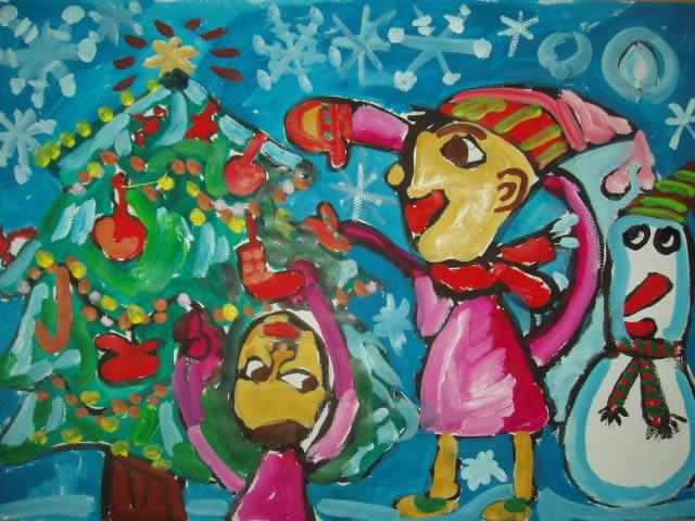 幼儿教育:儿童水彩画《圣诞节怀想》-中大网校儿童