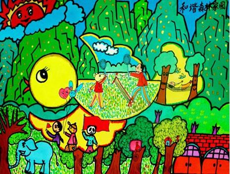 幼儿教育:儿童版画《和谐的森林家园》-中大网校儿童