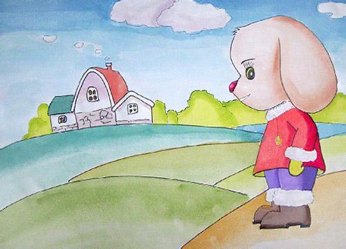 儿童水彩画《快乐小狗》