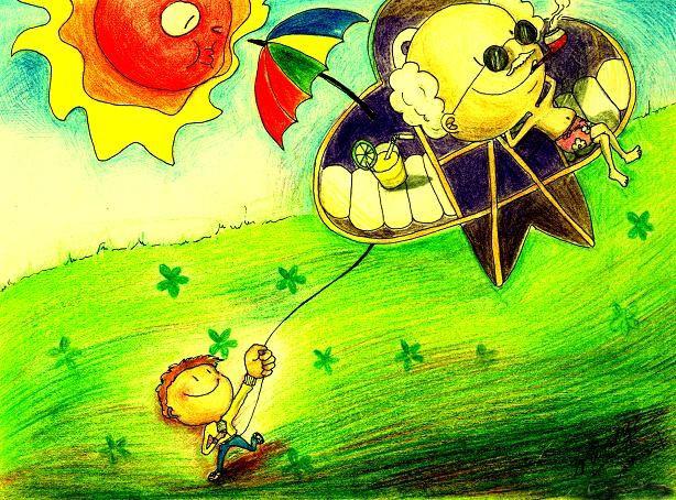 幼儿教育:儿童科幻画《创意风筝》-中大网校儿童教育