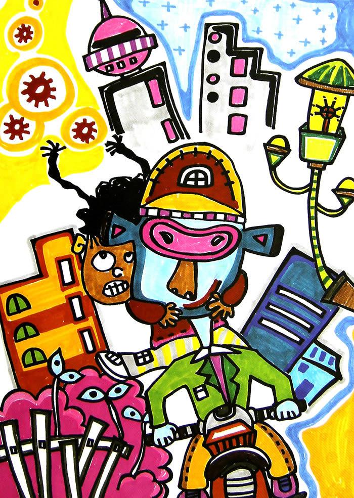 幼儿教育:儿童水彩画《骑摩托》-中大网校儿童教育网
