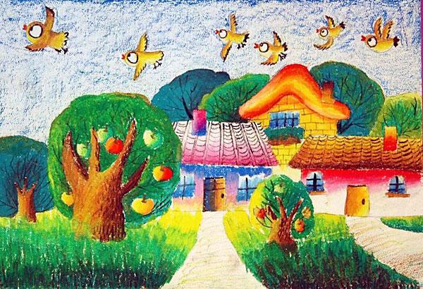 幼儿教育:儿童油棒画《我眼中五彩的世界》-中大网校