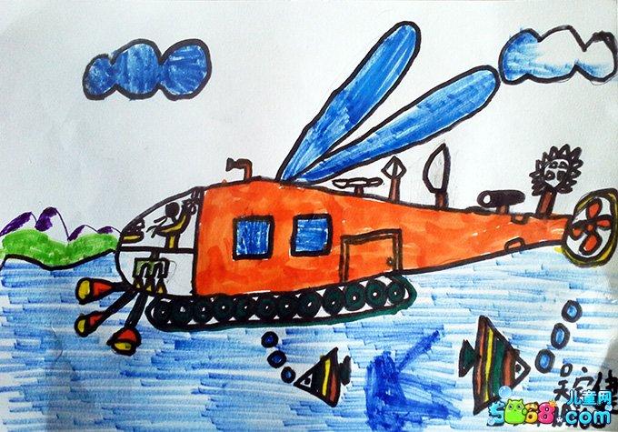 儿童水彩画《幼儿画画大全水彩画-空中的飞机》