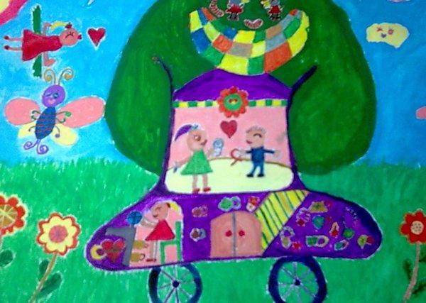 儿童水彩画《梦想中的爱心树汽车》