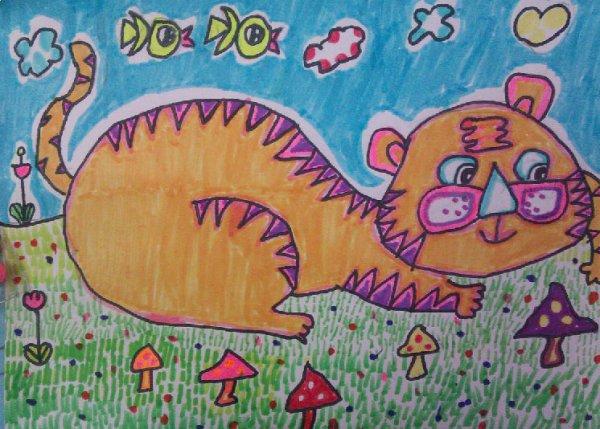 儿童水彩画《打盹的老虎动物》