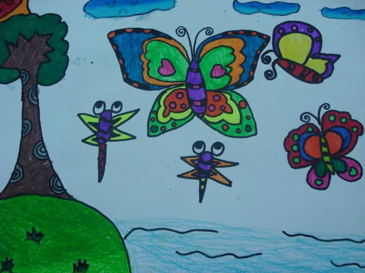 蜻蜓与小荷花简笔画
