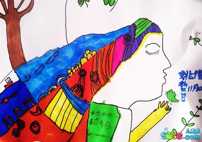 幼儿教育:儿童水彩画《儿童水彩画作品风景-我与鸟儿