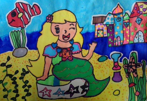 幼儿教育:儿童水彩画《美人鱼度假》-中大网校儿童