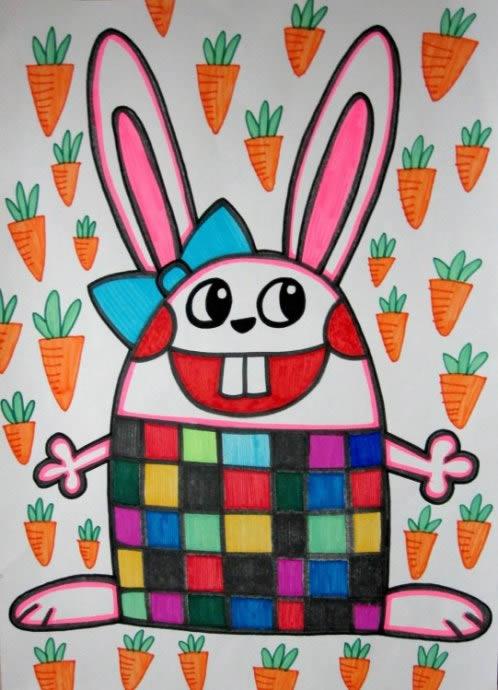 幼儿教育:儿童油棒画《小白兔爱萝卜》-中大网校儿童
