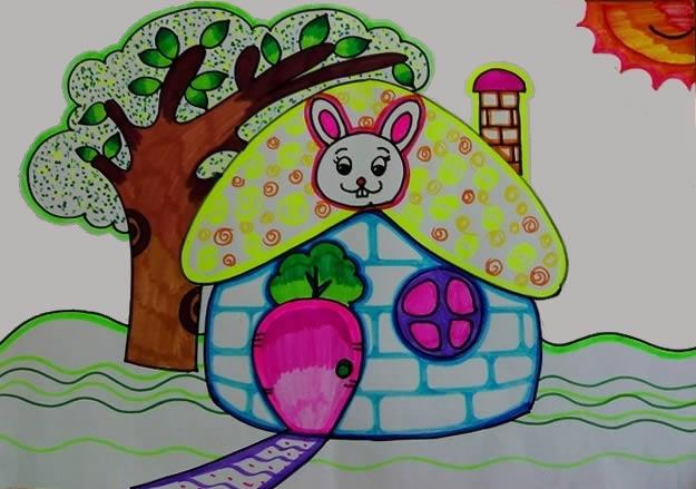 幼儿教育:儿童油棒画《小兔子的家》-中大网校儿童