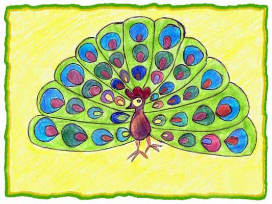 幼儿教育:儿童水彩画《美丽的花孔雀》-中大网校儿童