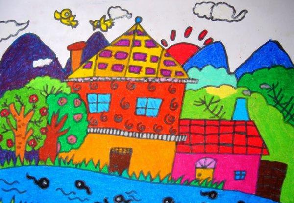 儿童水彩画《心中最美的房子》