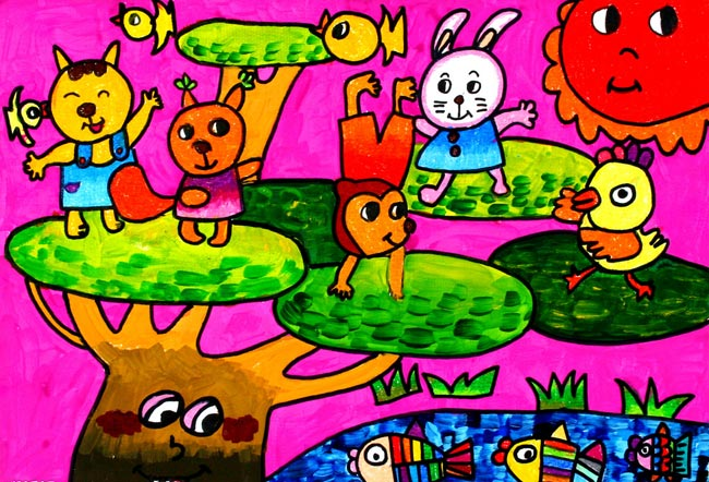 幼儿教育:儿童水彩画《动物们的聚会幼儿水彩画图片