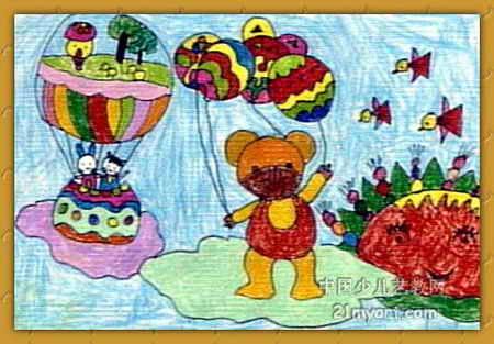 儿童水彩画《《小动物太空旅行》》