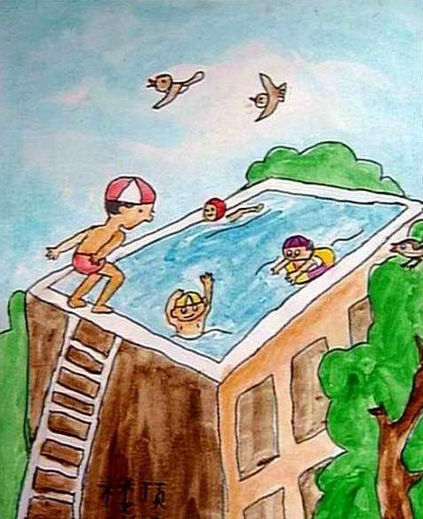 水粉画《楼顶游泳池》