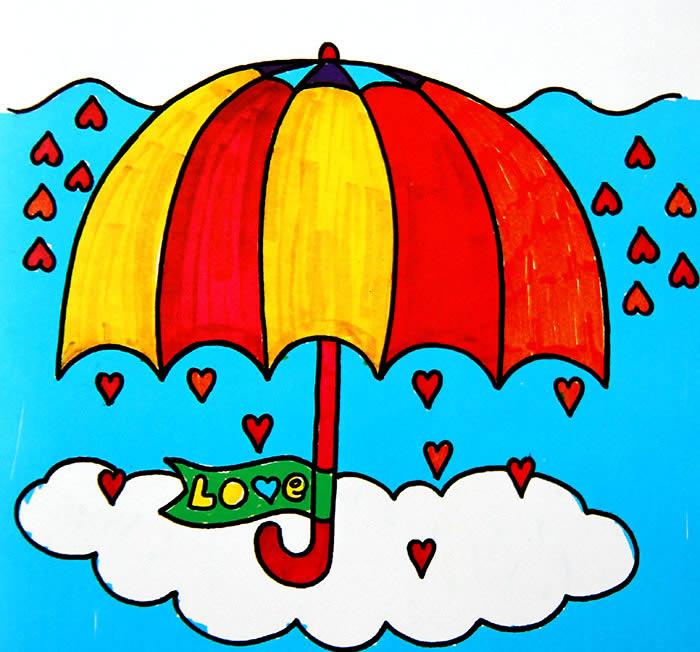 幼儿教育:儿童水彩画《彩虹颜色的雨伞》-中大网校