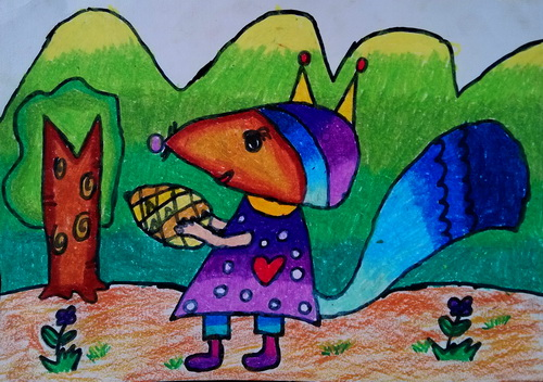 儿童油棒画《可爱的小松鼠》
