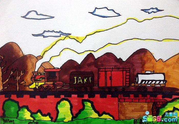 儿童水彩画《景物水彩画作品欣赏-奔驰的火车》