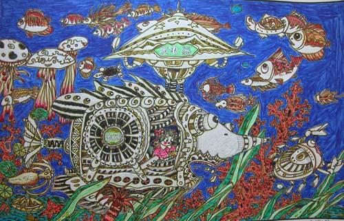 幼儿教育:儿童科幻画《海底净化垃圾处理站》-中大