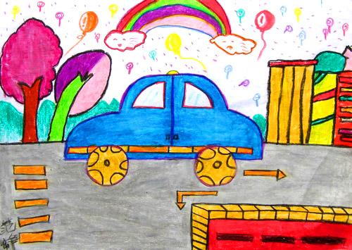 儿童水彩画《彩虹汽车》