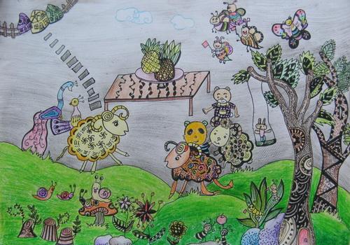 幼兒教育:線描《森林聚會》-中大網校兒童教育網