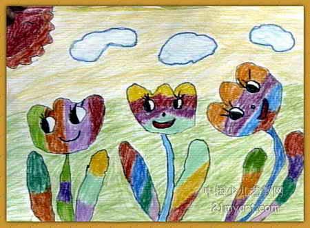 儿童水彩画《《美丽的郁金香》》图片