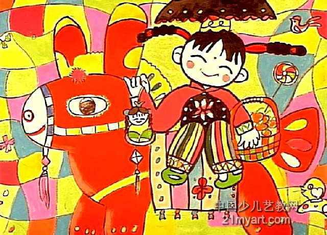 画画的女孩儿童画