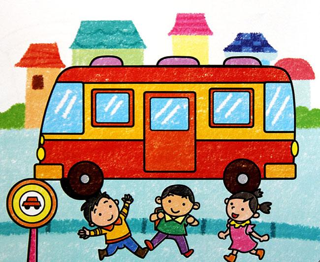 儿童油棒画《公交车》
