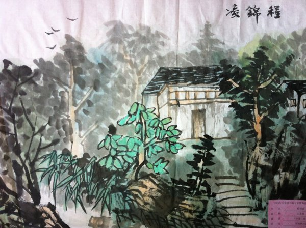 中国风儿童画《少年宫江南烟雨》