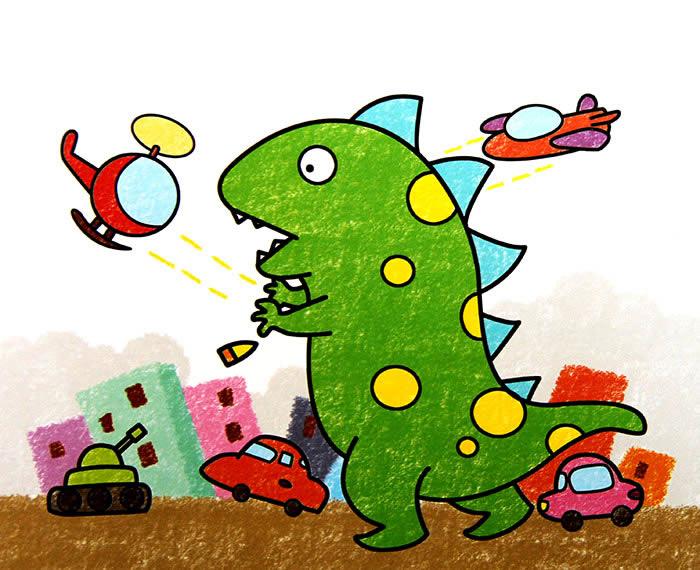 幼儿教育:儿童油棒画《恐龙来袭》-中大网校儿童教育