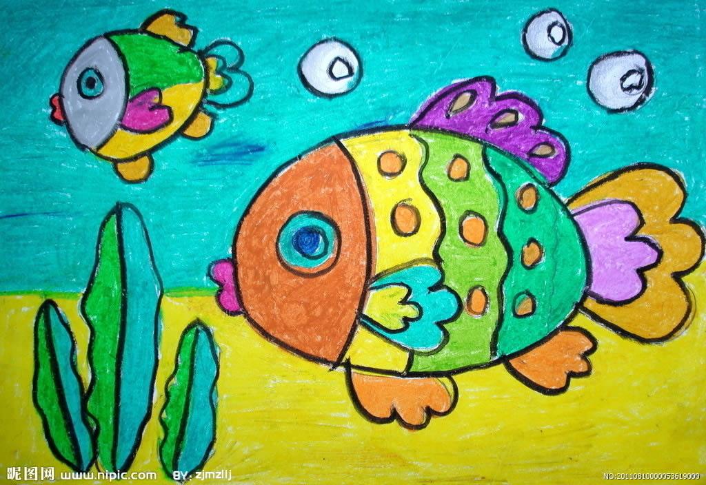 幼儿教育:儿童水彩画《两条五彩鱼》-中大网校儿童