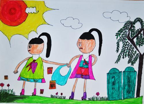 儿童水彩画《环保从我做起》