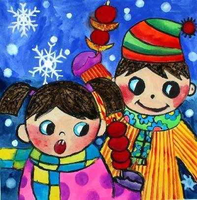 儿童水彩画《冬天来了》