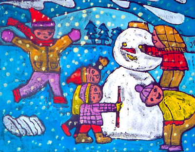 幼儿教育:儿童版画《堆雪人》-中大网校儿童教育网