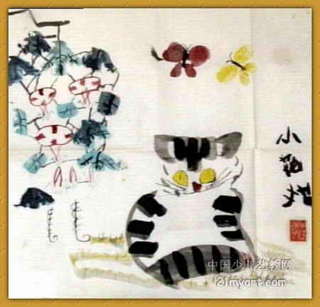 幼儿教育:中国风儿童画《《小花猫》》-中大网校儿童