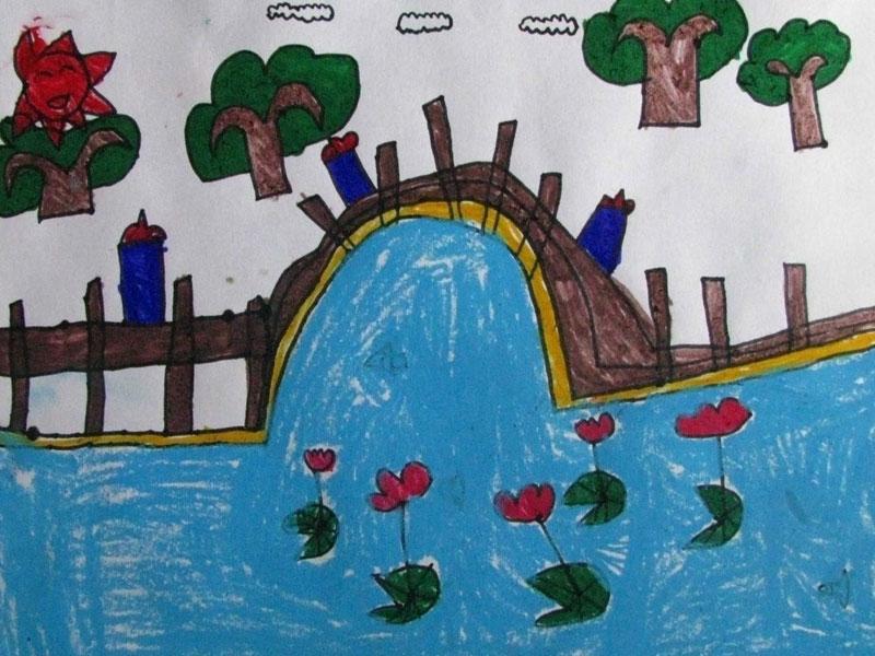 幼儿教育:儿童油棒画《瀑布》-中大网校儿童教育网