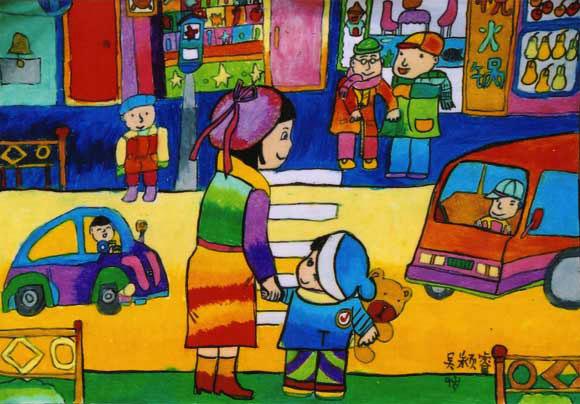 幼儿教育:儿童油棒画《热闹的街道》-中大网校儿童
