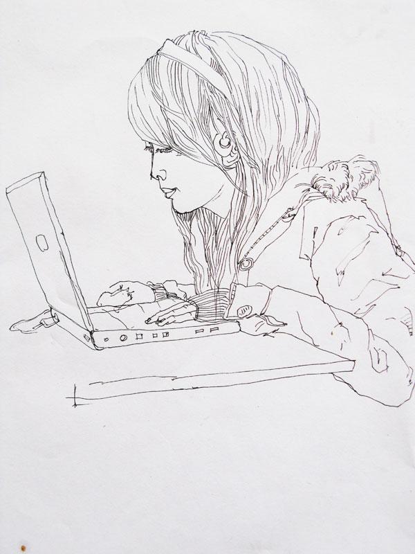 幼儿教育:速写《上网女孩》-中大网校儿童教育网