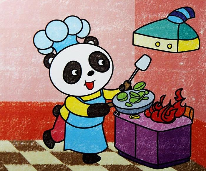 幼儿教育:儿童油棒画《熊猫厨师》-中大网校儿童教育网