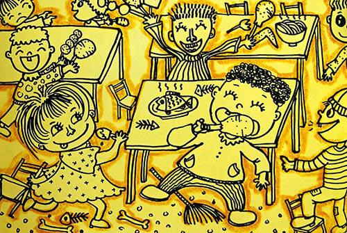 线描《快乐的幼儿园》