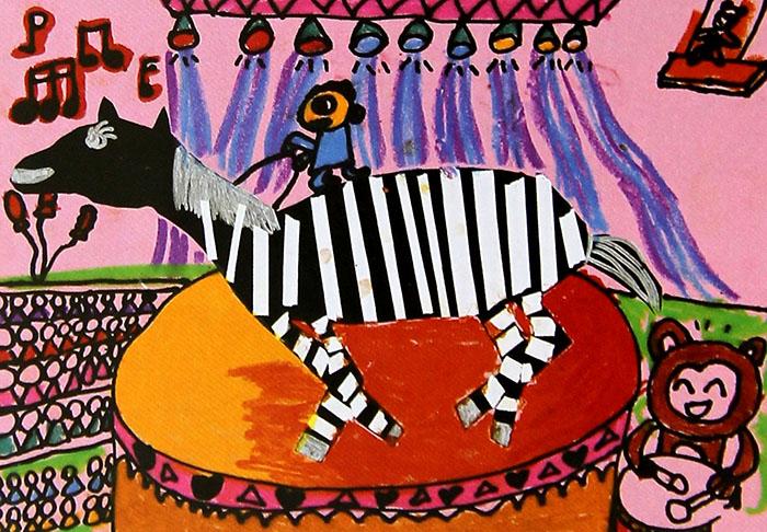 儿童油棒画《小斑马快乐的一天》