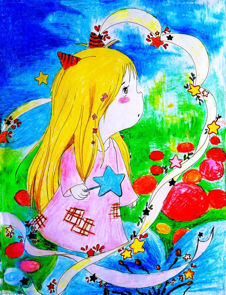 幼儿教育:儿童水彩画《可爱的小女孩》-中大网校儿童