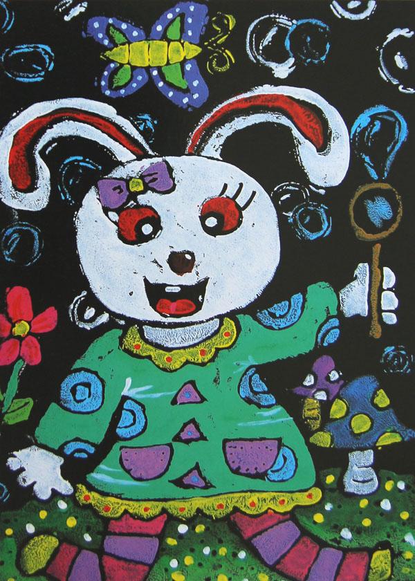 幼儿教育:儿童版画《小白兔》-中大网校儿童教育网