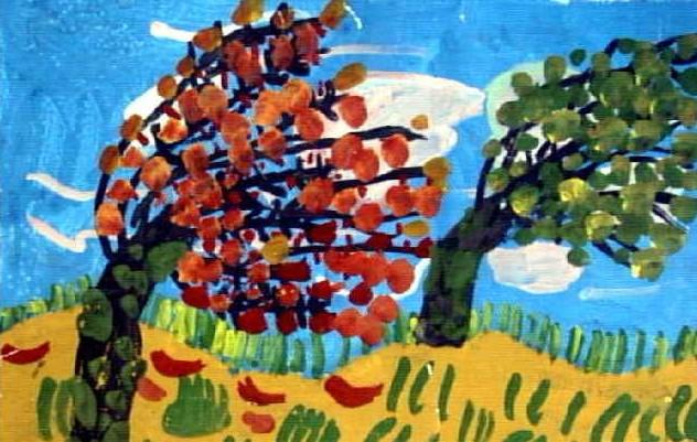 儿童画水粉画作品 大风 最新认识身边的树儿童画组图提高篇 儿