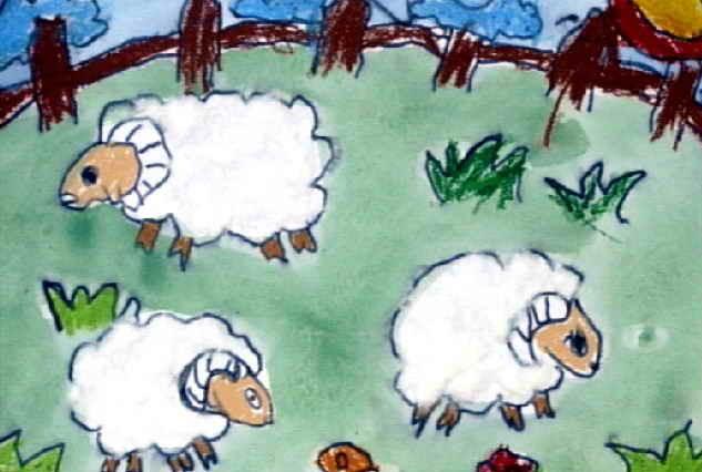 幼儿教育:装饰画《小绵羊》-中大网校儿童教育网